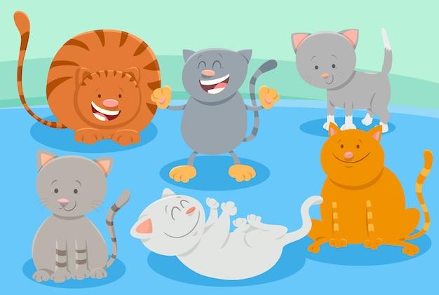 Grupo de personajes de gatos o gatitos lindos