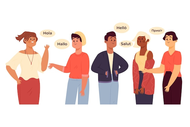Grupo de personajes hablando en diferentes idiomas.
