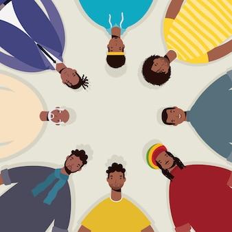 Grupo de personajes de hombres afro alrededor.