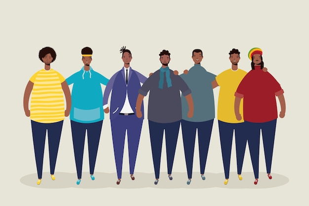 Grupo de personajes de hombres afro.