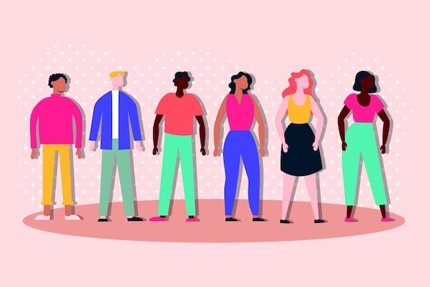 Grupo de personajes de inclusión de personas interraciales