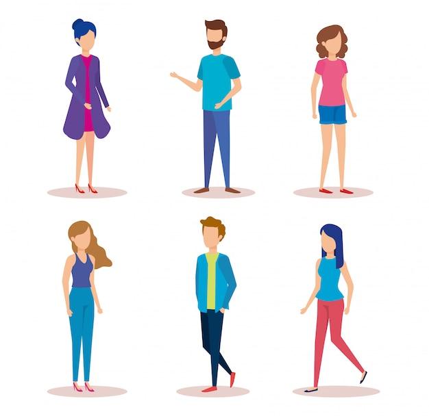 Grupo de personajes jóvenes