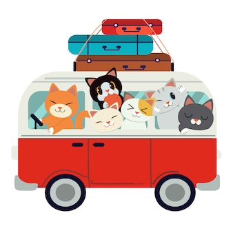 El grupo de personajes lindo gato conduciendo una camioneta roja para ir de viaje.