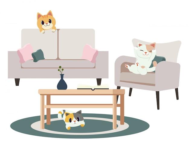 Un grupo de personajes lindos gatos juegan a las escondidas en el hogar.