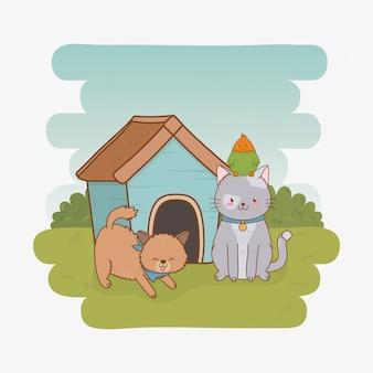 Grupo de personajes de mascotas pequeñas