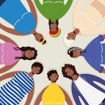 Grupo de personajes de mujeres afro alrededor.