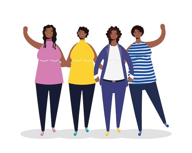 Grupo de personajes de mujeres afro.