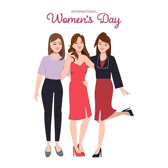 Grupo de personajes de mujeres posan para un poder más fuerte y un trabajo en equipo perfecto