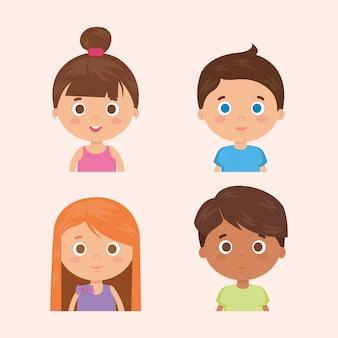 Grupo de personajes de niños pequeños