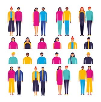 Grupo de personajes de parejas diversas