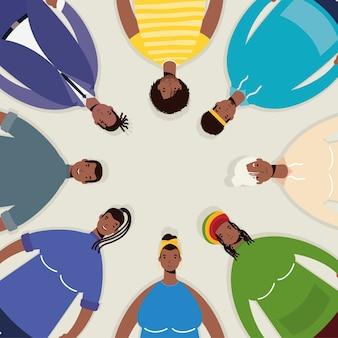Grupo de personajes de personas afro alrededor.