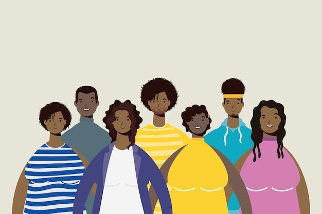 Grupo de personajes de personas afro.