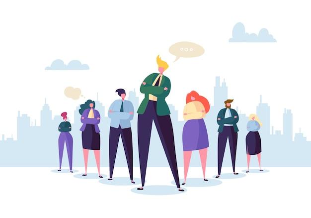 Grupo de personajes de personas de negocios con líder. concepto de liderazgo y trabajo en equipo. hombre de negocios exitoso se destaca frente a personas planas.