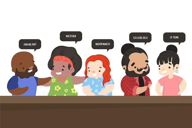 Grupo de personajes que hablan diferentes idiomas.