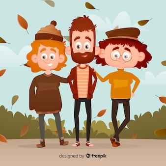 Grupo de personajes con ropa de otoño