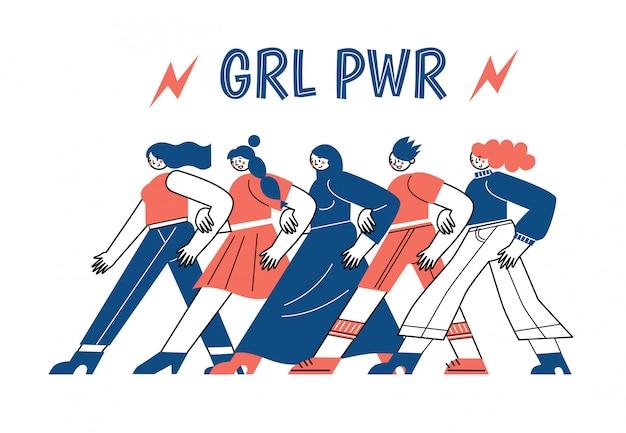 Un grupo de personajes de vectores de mujeres van juntos en una pierna. día internacional de la mujer. la lucha de las mujeres por sus derechos.