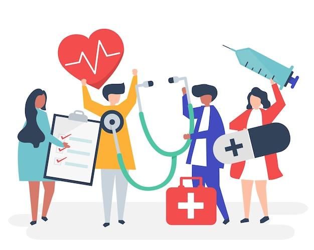 Grupo de personal médico que lleva iconos relacionados con la salud