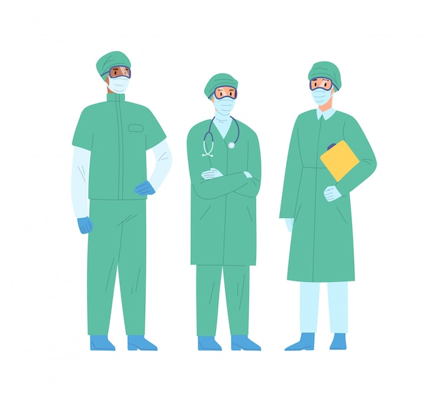 Grupo de personal médico en ropa protectora ilustración vectorial. equipo de diversos médicos en máscara de seguridad y abrigo de pie juntos