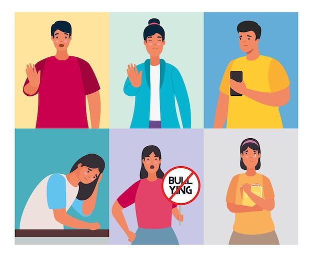 Grupo de personas afectadas por ciberacoso y personajes de señal de stop