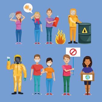Grupo de personas ambientalistas y trabajadores