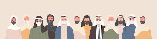 Grupo de personas árabes en ropa islámica tradicional con máscaras médicas