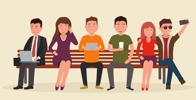 Grupo de personas en banco con dispositivos móviles.