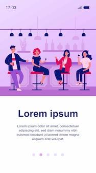 Grupo de personas bebiendo vino y cerveza en la ilustración de pub