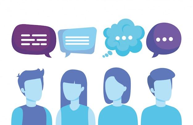 Grupo de personas con burbujas de discurso