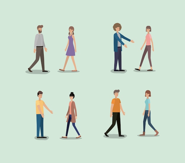 Grupo de personas caminando personajes