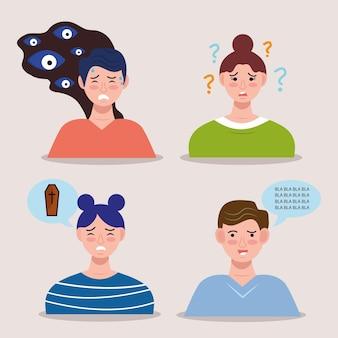 Grupo de personas con caracteres de trastorno bipolar.