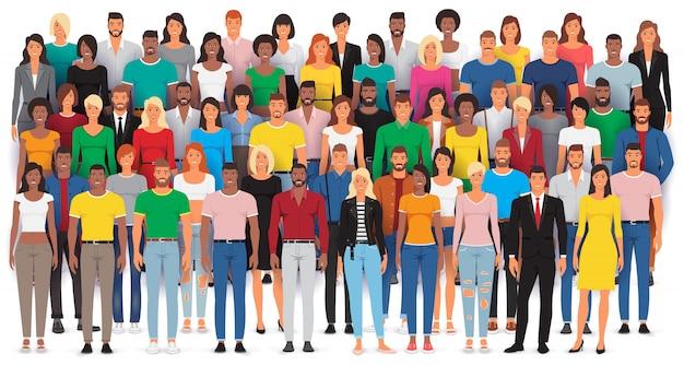 Grupo de personas casuales de pie, gran multitud étnica diversa, ilustración