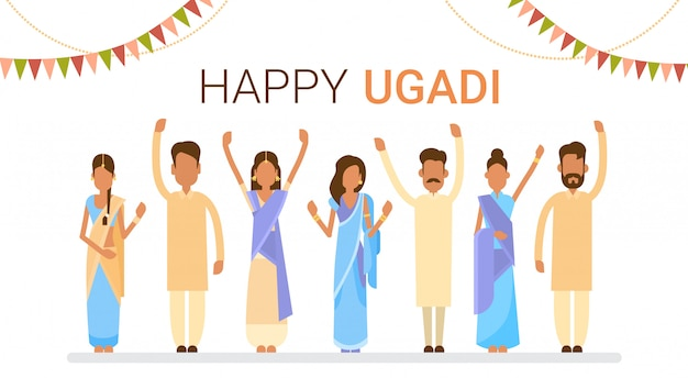 Grupo de personas celebrar feliz ugadi y gudi padwa año nuevo hindú tarjeta de felicitación día de fiesta