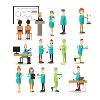 Grupo de personas de ciencia conjunto plano