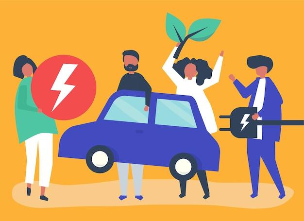 Grupo de personas con coche eléctrico.