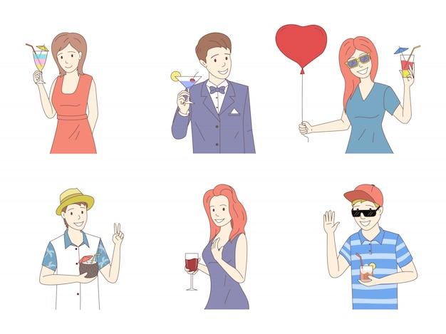Grupo de personas con cócteles de dibujos animados ilustración del esquema. fiesta de verano, vacaciones, vacaciones.