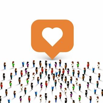 Grupo de personas como corazón de marco sobre fondo blanco. ilustración vectorial