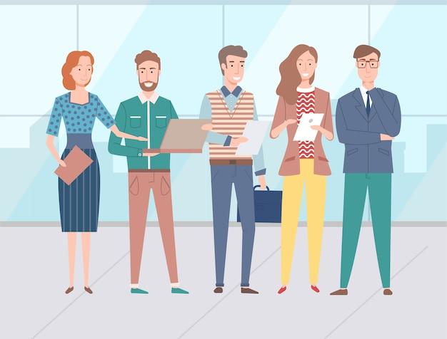 Grupo de personas, compañeros de trabajo y colegas vector