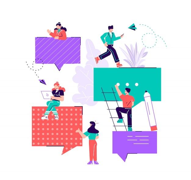 Un grupo de personas se comunica a través de las redes sociales de internet, el concepto de comunicación, discusión de negocios, noticias, conocidos. ilustración de diseño moderno de estilo plano para página web