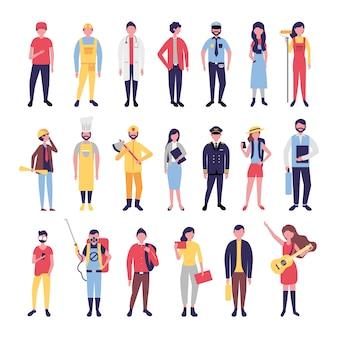 Grupo de personas de la comunidad agrupa personajes