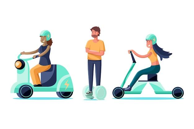 Grupo de personas conduciendo métodos de transporte eléctrico.