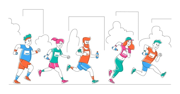 Grupo de personas corriendo maratón de la ciudad distancia en fila