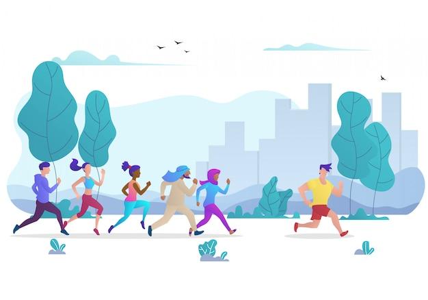 Grupo de personas corriendo en el parque público de la ciudad.