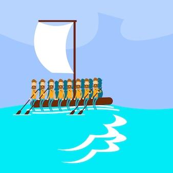 Grupo de personas de la crisis migratoria barco hecho a mano emigrante
