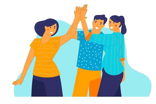 Grupo de personas dando cinco
