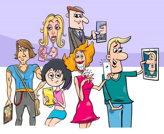 Grupo de personas de dibujos animados haciendo fotos selfie
