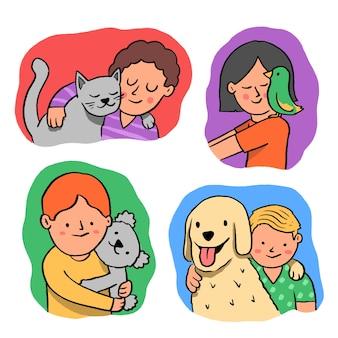 Grupo de personas con diferentes mascotas.