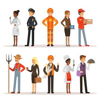 Grupo de personas en diferentes profesiones. bombero, doctora y maestra. constructor, policía y mensajería.
