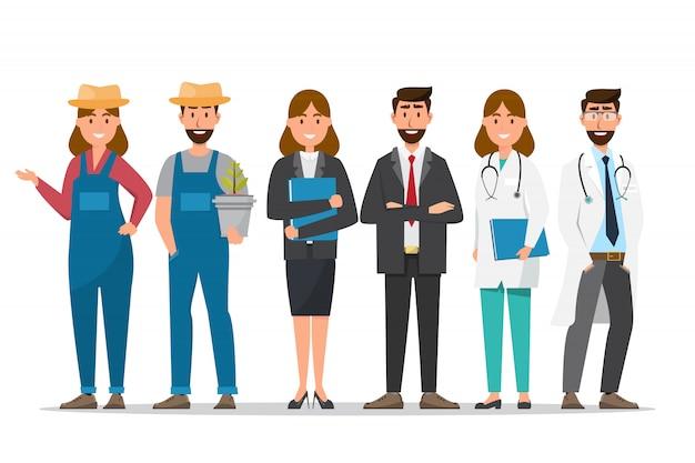 Un grupo de personas en diferentes profesiones sobre un fondo blanco.