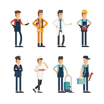Grupo de personas de diferentes profesiones.