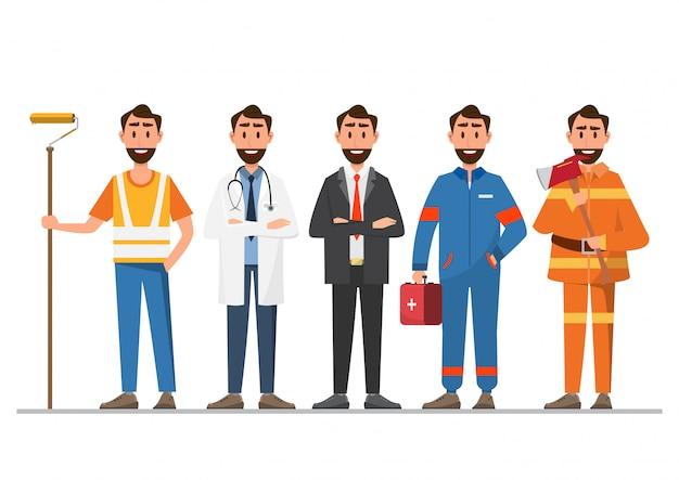 Un grupo de personas de diferentes profesiones.